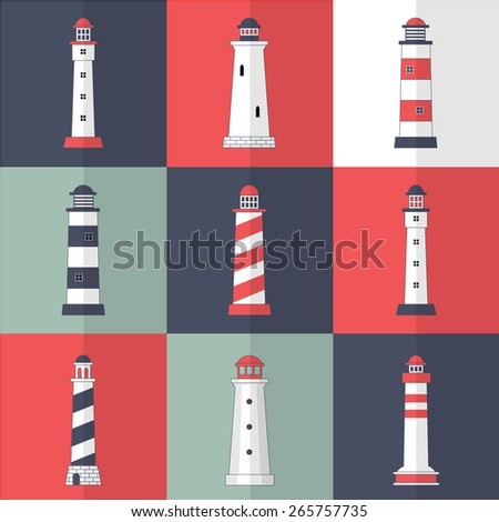 Set of lighthouses icons in modern flat style