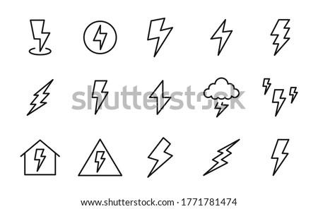 set of lightning bolt icons in