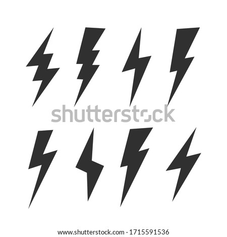 Set of 8 Lightning flat icons. Thunderbolts icons isolated on black background. Vector illustration