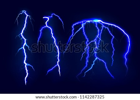 Set of lightnings. Electric light thunder spark. Realistic lightning on dark background. Vector illustration