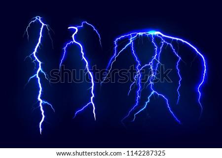 Set of lightnings. Electric light thunder spark. Realistic lightning on dark background. Vector illustration