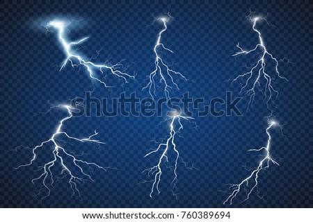 set of lightnings thunder