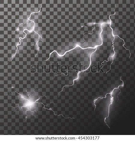 Set of lightnings. Thunder-storm Magic and bright zigzag effects. Vector