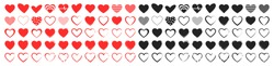 Set of 100 Like and Heart icons. Live stream video, chat, likes. Social nets like red heart web buttons isolated on white background. Vector illustaration.