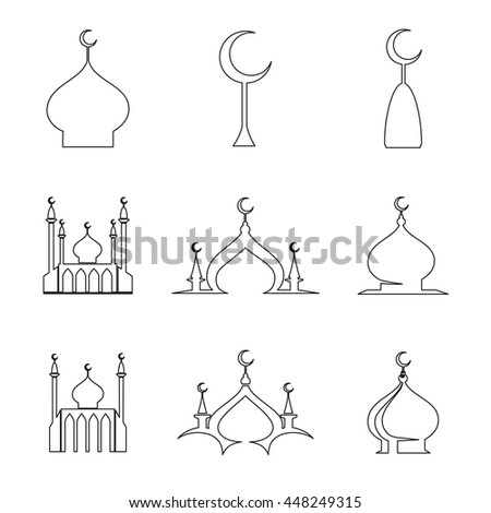 set of line arabic islamic dome