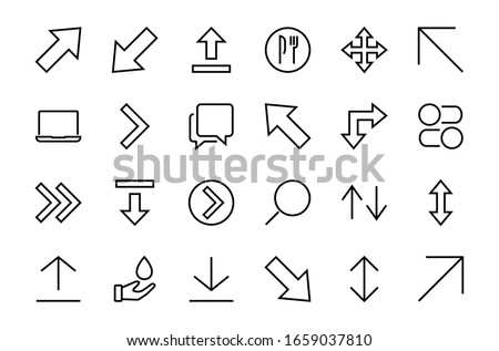 set of line arrows  directions