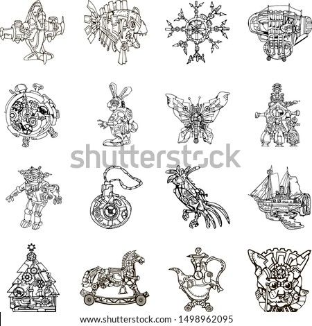set of 16 line art abstract