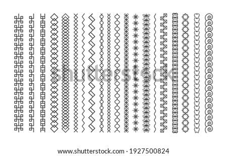 Set of line art decorative design elements, border and page rules frame vector illustration.