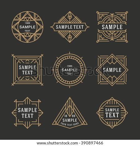 Set of Line Art Decorative Geometric Vector Frames and Borders. Vector Illustration. Vector Design Elements. Vintage Decoration