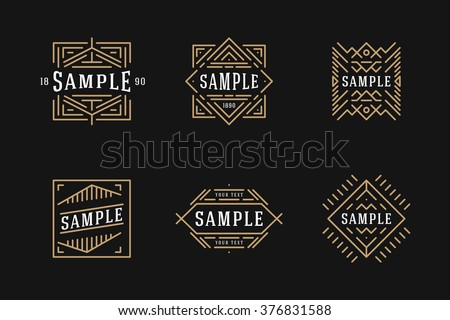 Set of Line Art Decorative Geometric Vector Frames and Borders with Golden and Black Colors. Vector Ornaments, Vector Decoration, Line Ornament, Vector Logos, Vector Labels.