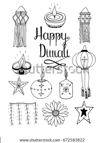Set of line art vector hand drawn Diwali doodle objects and symbols isolated on white background.