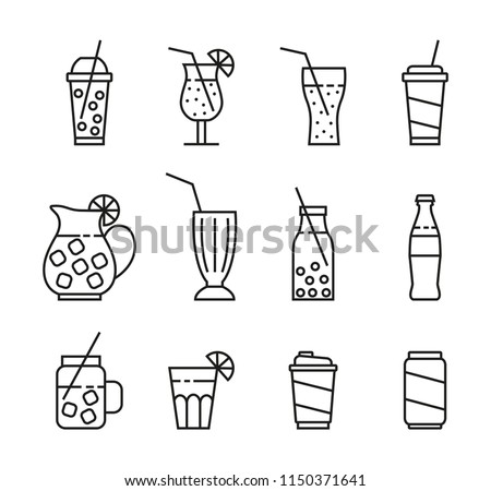 set of line beverage icons