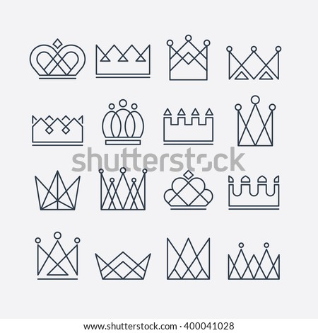 Set of line crown icons. Collection of crown awards for winners, champions, leadership. Vector isolated elements for logo, label, game, website, hotel, an app design.  King, queen crown. Royal icons.