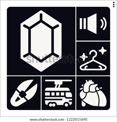 Set of 6 line filled icons such as heart, hanger, trolleybus, zelda, sound