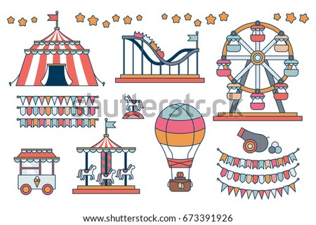 Set of line icon Circus attraction elements