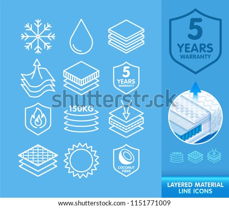 Set of line icons for schematic representation layered materials, fabric layers, baby diapers, napkin, sanitary pad advertising. Vector eps10.