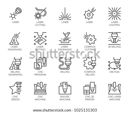 Set of 20 line icons in series of laser cutting. Computer numerical controlled printer, 3D milling machine and other thematic symbols. Stroke mono contour pictograms isolated. Vector outline labels