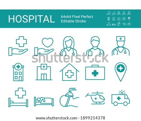 Set of line icons of clinic, hospital. Editable vector stroke. 64x64 Pixel Perfect.