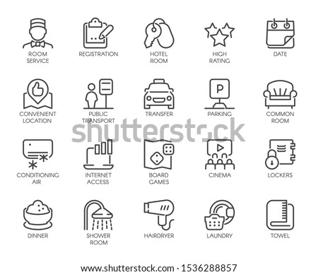 Set of 20 line icons of room service. Contour labels for hotel inn, hostels, apartment, condominium booking sites and apps. Pictograms isolated. Vector outline illustration