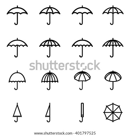 Set 1 of line icons representing umbrella Vector Illustration. Umbrella simple symbols