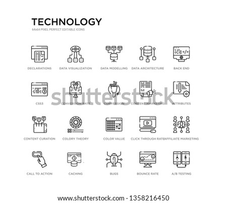set of 20 line icons such as color value, colory theory, content curation, content marketing, conversion, conversion rate optimization, css3, data architecture, data modelling, data visualization.