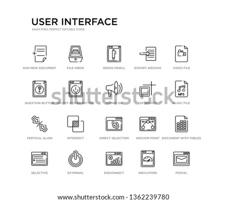 set of 20 line icons such as direct selection, intersect, vertical align, artboard, sound on, on off power button, question button, export archive, gross pencil, file inbox. user interface outline