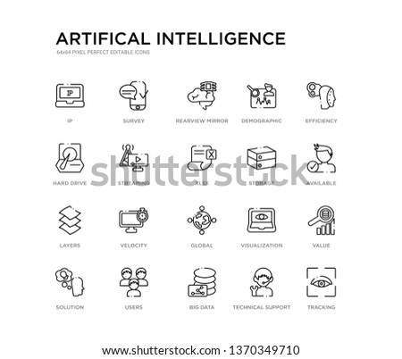 set of 20 line icons such as global, velocity, layers, storage, xlsx, streaming, hard drive, demographic, rearview mirror, survey. artifical intelligence outline thin icons collection. editable