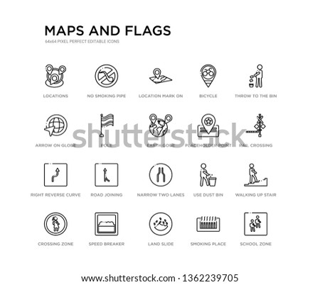 set of 20 line icons such as narrow two lanes, road joining, right reverse curve, placeholder point, earth gobe, pole, arrow on globe, bicycle, location mark on printed map, no smoking pipe. maps
