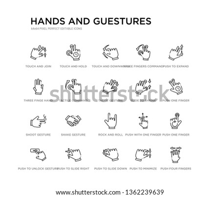 set of 20 line icons such as rock and roll, shake gesture, shoot gesture, slide to shrink, tactil gesture, tactile command down three finge hand three fingers command, touch and downward sliding