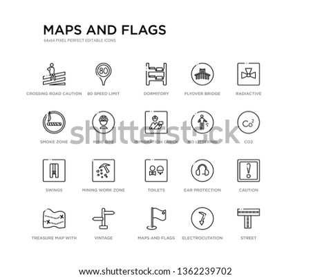 set of 20 line icons such as