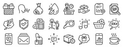 Set of line icons, such as Whistle, Sms, Smartphone statistics icons. Message, Check article, Tea bag signs. Breathing exercise, Report checklist, Add purchase. Mail, Cash, Delivery timer. Vector