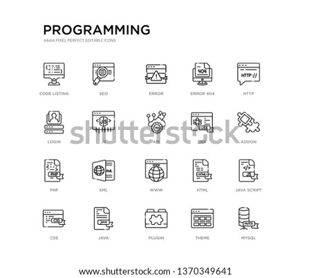 set of 20 line icons such as www, xml, php, jsx, api, js, login, error 404, error, seo. programming outline thin icons collection. editable 64x64 stroke