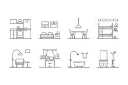 Set of line  interior design icons. Stock vector.
