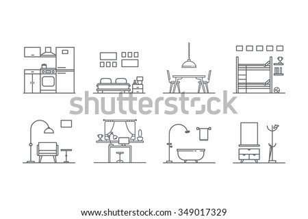 set of line  interior design