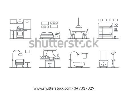 Set Of Line Interior Design Icons Stock Vector