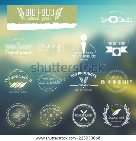 Set of line labels for bio, organic and natural food. Badges and labels for eco food promotional material.