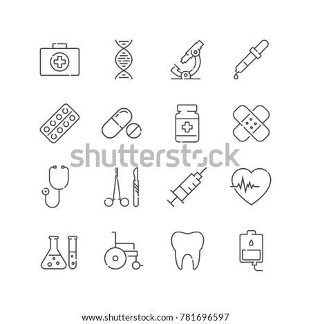 Set of line medical icons. For your design, logo. Vector illustration.