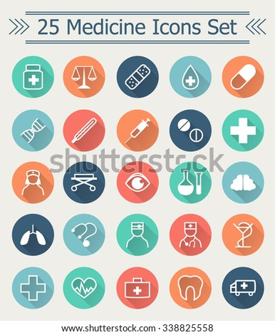 Set of 25 line Medicine Icons in flat style with long shadow in the middle of circle every symbol