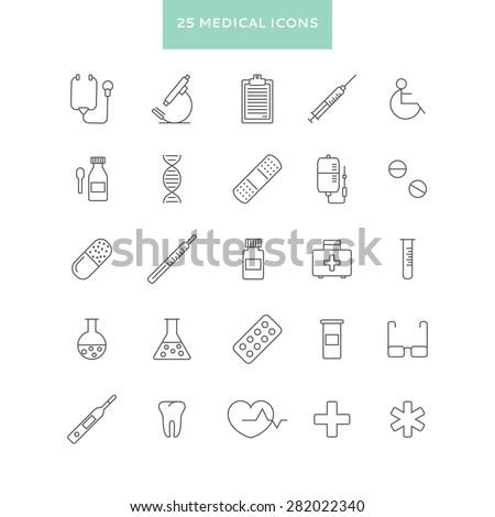 set of  line minimalistic medical icons