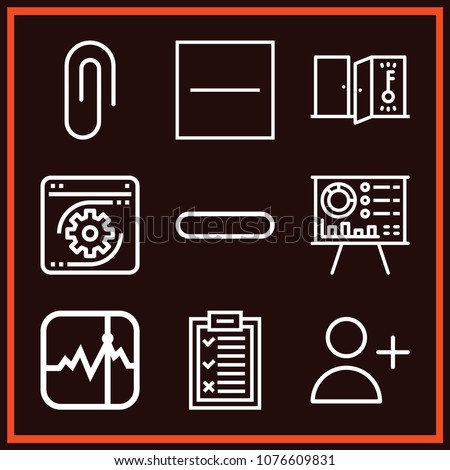 Set of 9 line outline icons such as presentation, key, attachment, adduser, stocks, choice, minus, substract