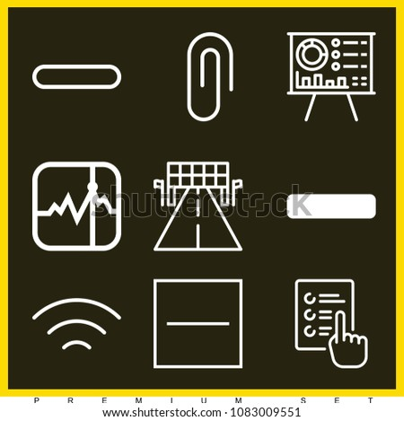 Set of 9 line outline icons such as presentation, racing, wireless, attachment, stocks, minus, substract, minus symbol