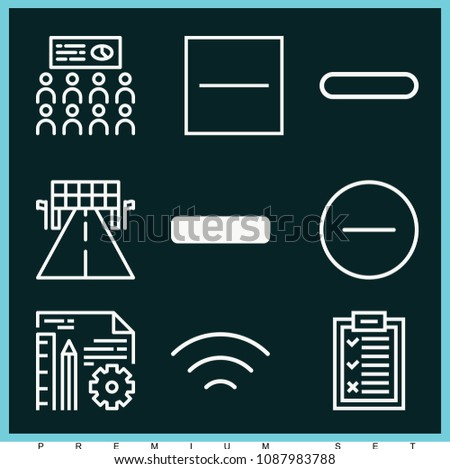 Set of 9 line outline icons such as racing, presentation, wireless, choice, minus, substract, minus symbol