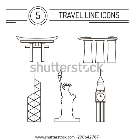 set of line travel icons