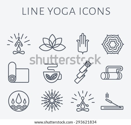 Set of 12 line Yoga icons. Spa and wellness symbols. Alternative medicine signs.