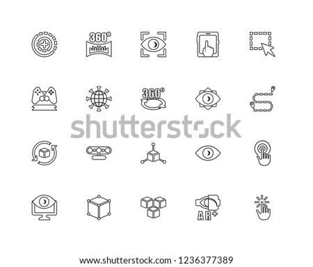 Set Of 20 linear Augmented Reality icons such as Interactivity, reality, Cube, Virtual Select, Vision, Rotation, Internet, Eye, editable stroke vector icon pack