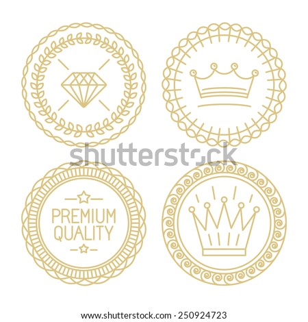 set of linear badges   premium