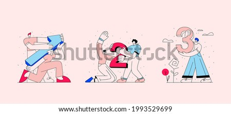 Set of linear business illustrations for website banner. The characters are holding numbers indicating the number of subscriptions, the prize place. Social media marketing concept. Gentle colors