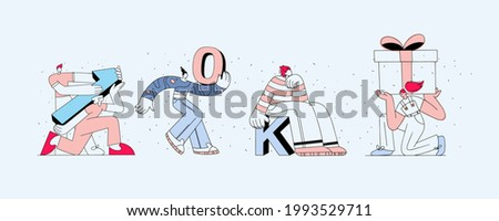 Set of linear business illustrations for website banner. The characters are holding numbers indicating the number of subscriptions, 10 thousand followers. Social media marketing concept. Gentle colors