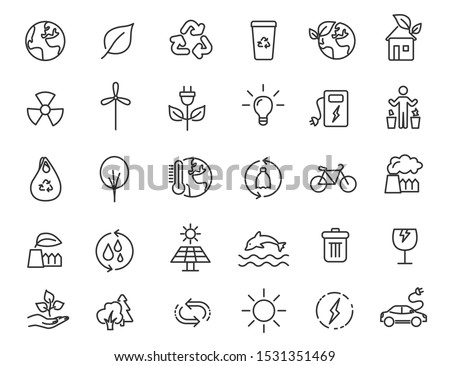 Set of linear ecology icons. Environment icons in simple design. Vector illustration Stockfoto ©