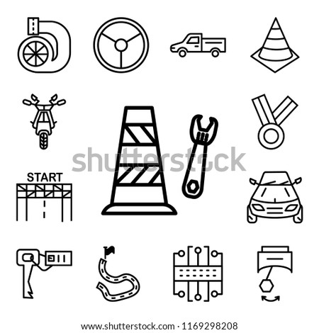 set of 13 linear editable icons